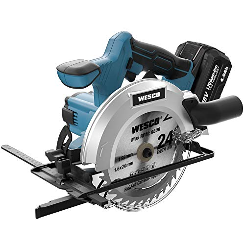 WESCO Cordless Circular Saw 18V with 4.0Ah Battery, 2pcs 165...
