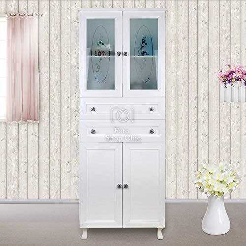 Mobiletto Bagno Mobile con Ante e cassetti salvaspazio in Legno Compatto Stile Shabby Chic Colore Bianco Opaco con vetrine Armadio scarpiera