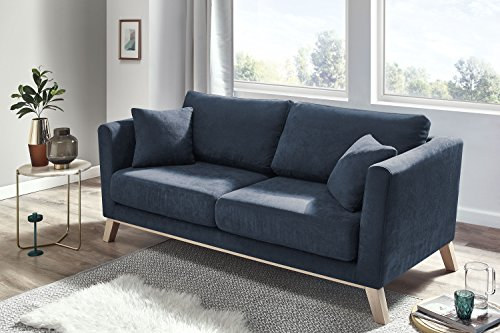 Canapé 3 places Bleu Scandinave Confort