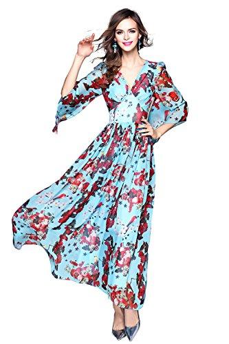 Women's Deep V Neck Boho High Waist 3/4 Sleeve Casual Sundress Swing Maxi Dress