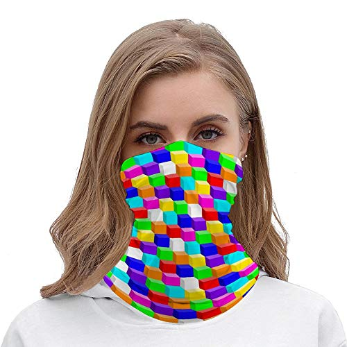 Colored Cubes Multifunctional Bandana for Rave Face Mask Dust Wind UV Sun, Neck Gaiter Tube Mask Balaclavas Headwear, Motorcycle Face Mask for Women Men Face Scarf