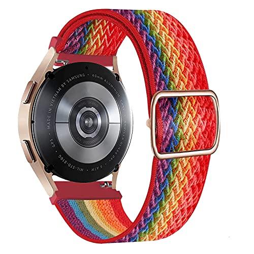 Krudary Correa de reloj de nailon elástico compatible con Samsung Galaxy 4/4 Classic, ajustable, transpirable, suave, elástica, para Galaxy Active 2/Galaxy Watch 3 41 mm,