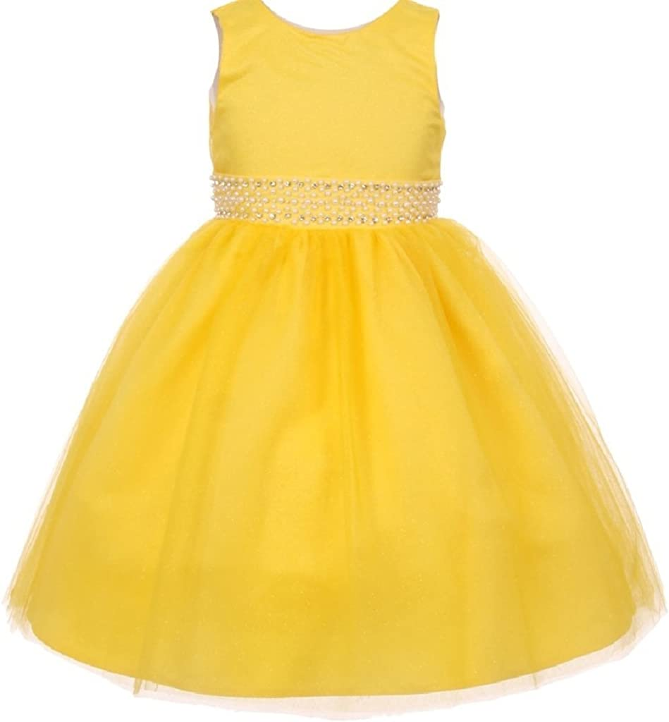 BluNight Collection Sparkly Glitter with Beaded Waist Little Girl Special Occasion