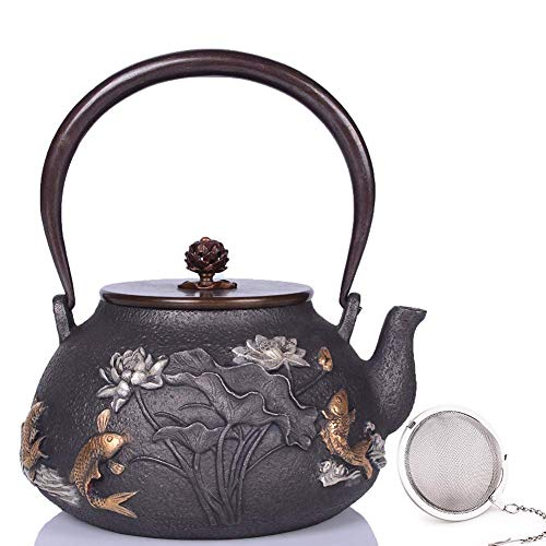 KDMB Teapot,Japanese Hand Cast Iron Teapot High Temperature Oxidation Treatment of Inner Wall,with Stainless Steel Infuser, 1.2 L