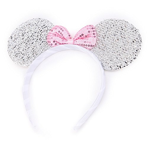 Silver Sparkly Glitter Mouse Ears Alice Hair Band Headband Fancy Dress Party Hen by Pritties Accessories