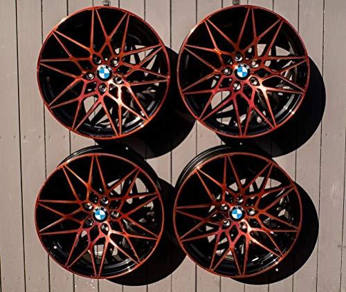 4 x 19 Zoll MAM B2 Alu Felgen schwarz Front orange lackiert für 3er E36 E46 E90 E91 E92 E93 F30 F31 4er F32 F33 F36 M4 335 435 M-Paket M-Performance CSL NEU
