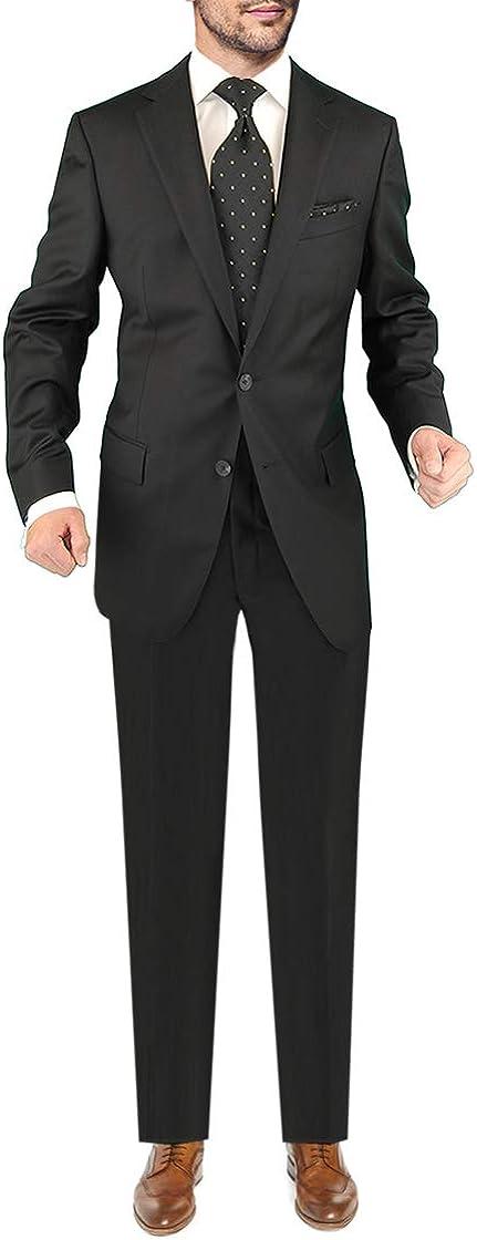 DTI Men's Two Button Business Suit Nano Luxury Stretch 100% Wool 2 Piece Black