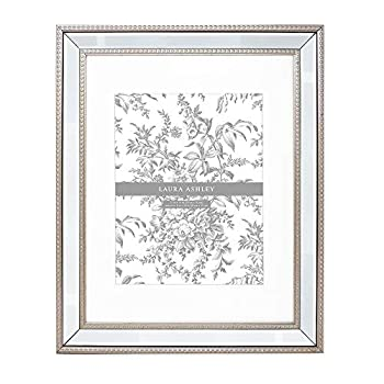 Laura Ashley 11x14  Matted 8x10  Champagne Mirror Bead Picture Frame Classic Mirrored Frame with Beaded Border Wall-Mountable Made for Photo Gallery and Wall Art  11x14  Matted 8x10  Champagne