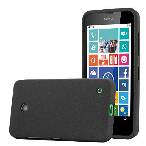Cadorabo Custodia per Nokia Lumia 630 in Frost Nero - Morbida Cover Protettiva Sottile di Silicone TPU con Bordo Protezione - Ultra Slim Case Antiurto Gel Back Bumper Guscio
