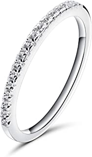 Rugewelry 1.5mm Women 925 Sterling Silver Anniversary Wedding Band Cubic Zirconia Half Eternity Stackable Engagement Ring Size 5-11