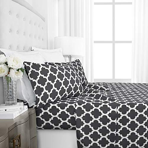 Acogedor Set de hojas de impresión a cuadros 4 en 1 Hoja de cama ajustadaCasas de almohadas para cama plana cubierta geométrica (sin cobertura de relleno / edredón en el interior) Para hotel en casa