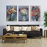 Geiqianjiumai Bouquet de Fleurs colorées Affiches et Impressions dans Un Vase Art Mural Floral Moderne Lumineux Peinture sans Cadre 60x90cm