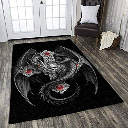 Dragon Celtic Skull Home Decor Area Rug