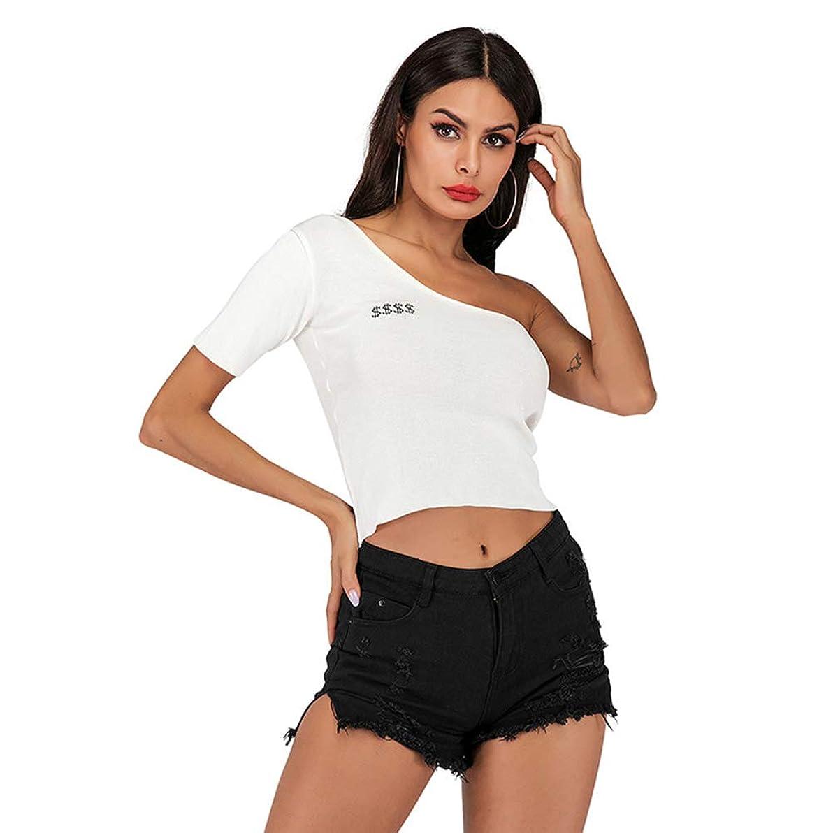 透ける破産代わりにスリムフィットのファッション女性の半袖、多目的、ニット刺繍、セクシーな斜めカラーのオフショルダーTシャツ,L
