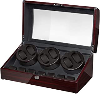 Maselex 6 Watch Winder with 7 Storages Box Case, Super Quiet Mabuchi Motor, Flexible Plush Pillow, 21 Rotation Modes.