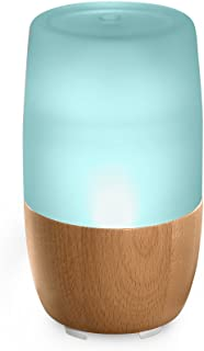 Ellia, Reflect Ultrasonic Essential Oil Diffuser, Blue, Glass & Wood | 150mL Remote Humidifying Diffuser, Color-Changing Light & Mood Sounds | 7 Hours Continuous Runtime | 3 Oil Samples