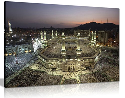 Leinwandbild, islamische Kunst, Mekka bei Nacht, 45,7 x 30,5 cm