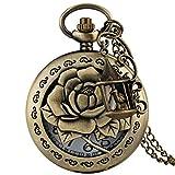 Elegante reloj de bolsillo de bronce para mujer, delicado patrón de rosas con accesorios de bolsillo para jaulas de pájaros para amigos, reloj colgante de cadena delgada y duradera para hombres,