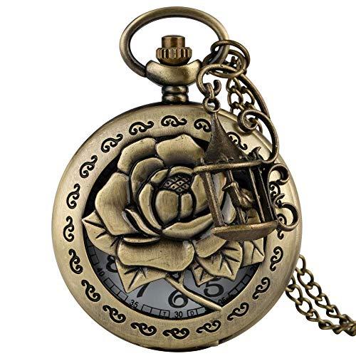 DZX Elegante Reloj de Bolsillo de Bronce para Mujer, Delicado patrón de...
