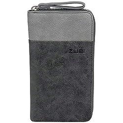 Two Eva EV2 zipper purse wallet purse wallet, black