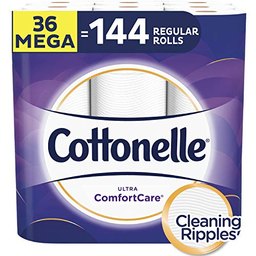 Cottonelle Ultra ComfortCare Toilet Paper, Soft Biodegradable Bath Tissue, Septic-Safe, 36 Mega Rolls (Packaging May Vary)
