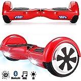 Magic Vida Skateboard Électrique 6.5 Pouces Bluetooth Puissance 700W avec Deux Barres LED Gyropode Auto-Équilibrage de Bonne qualité pour Enfants et Adultes(Rouge