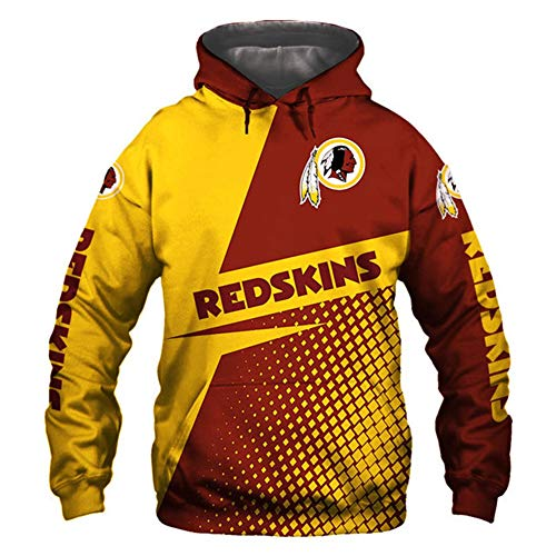 HS-HWH316 American Football Hoodie Redskins Sweatshirt 3D Printed Sweater Breathable Anti-Pilling Soft Casual Wear Outdoor-Sportarten Feiern Sie Den Super Bowl Fans Souvenirs,XL
