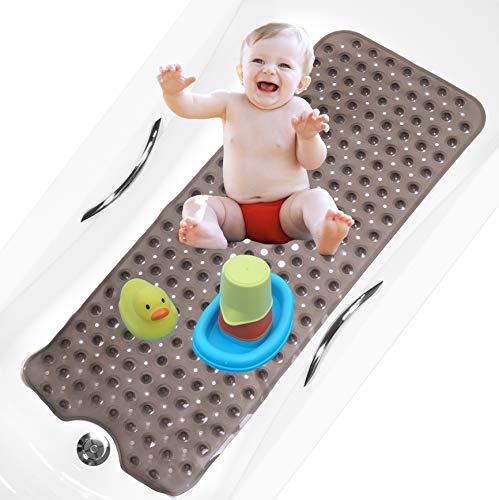 bisoo BPA Free 40x100 cm Alfombra Bañera Antideslizante Infantil Extra Larga para Baño de Niños Bebes y Ducha Infantil - Libre de BPA - Alfombrilla Baño Tratamiento Antibacteriano (Gris Transp