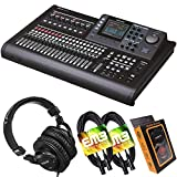 Tascam DP-32SD 32-Track Digital Portastudio Multi-Track Audio Recorder with Pro Headphone and Pair of EMB XLR Cables and Gravity Magnet Phone Holder Bundle