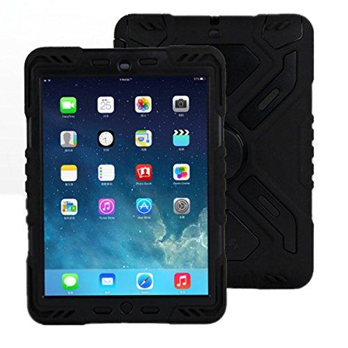 Meiya iPad 2 3 4 skal, ny stötsäker smutsbeständig överlevare extrem armé militär kraftig skyddsfodral ställ för iPad 2 3 4 barn gåva 2/3/4 barn fullt skydd iPad-fodral (svart)