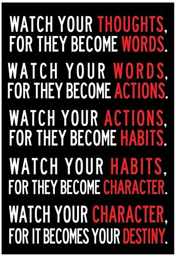 Watch Your Thoughts Motivational Poster 13 x 19in 5 Rules of Life for Child Kids