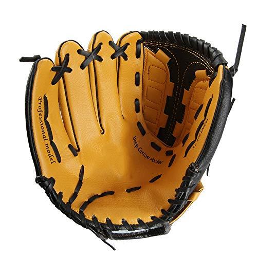 Baseballhandschuh Soft Leichte Baseballhandschuh PU-Leder-Brown-Baseball-Handschuhe Rechts/Links-Handwurf für Kinder Teens Erwachsene Rechte Hand werfen lin
