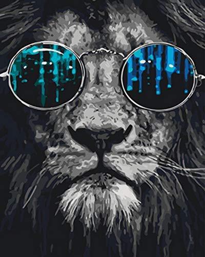 Löwe Sonnenbrille Tiere Schwarz und Weiß Malen nach Zahlen Erwachsene für Kinder Diy Handgemalt ölgemälde Home Haus Deko Geschenk auf Heimdekoration Vorgedruckt Leinwand Anfänger Acrylfarben