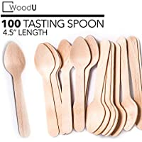 "WoodU Mini cucharas de madera de 4.5 ""de largo - Compostable biodegradable ecológico desechable (paquete de 100) - Perfecto para manualidades, exfoliantes de azúcar, degustación y muestreo"