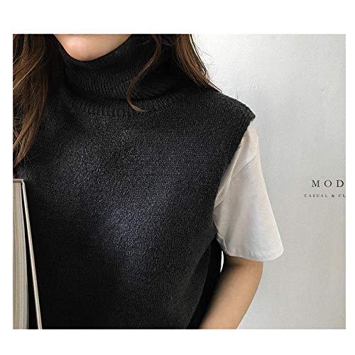 JFHGNJ Vrouwen s Gebreide Cashmere Coltrui Vest Side Slit Winter Vrouwelijke Trui Mouwloos Tailleband Nieuwe Vogue-Black_The