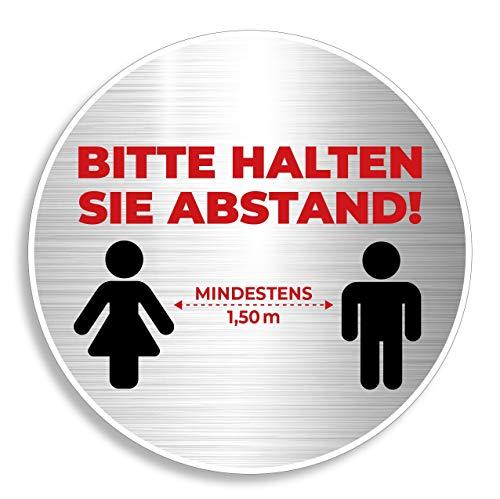 Bitte Abstand halten Bierdeckel Schild rund 10 cm Durchmesser wiederverwendbar Schutz Hinweis waschbar Hotel Gaststätte Warnschild Warnhinweis Tisch Tür Fenster silber (1)