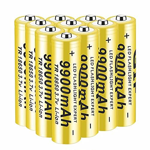 10pcs Pilas 18650 Pilas Recargable 3,7 V 9900 Mah de Iones de Litio de Alta Capacidad Baterías, 1800 Ciclos de Larga Duración con Botón Superior Pilas para Linterna,18x65mm
