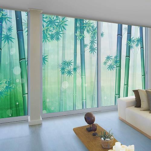 YSHUO raamsticker groen bamboe zelfklevende elektrostatische polijsten decoreren slaapkamer deur schuiven balkon glazen schild