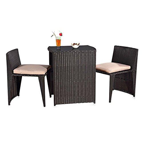 Melko Gartenmöbel Set aus Rattan – Sitzgruppe für den Garten, bestehend aus Tisch und Zwei Stühlen, zusammenschiebbar, schnell verstaut, platzsparend, wetterfest