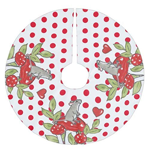 onepicebest Christmas Tree Skirt Woodland Mouse Red White Polka Dot Mushrooms Cute Tree Skirt for Xmas Holiday Party Supplies Large Tree Mat Decor Ornaments 48 Inch