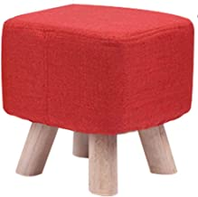 FJFDZ Cloth Solid Color Footstool,Square Change Shoe Bench Solid Wood Stool Leg,Living Room Home Decoration Furniture (Col...