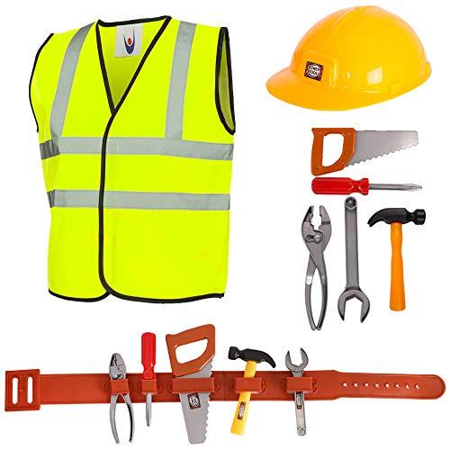 Barnbyggare lekset barnleksak verktygskit - 8 st byggmästare klä upp med verktygsbälte (5 unika verktyg) - byggnadsarbetare maskeraddräkt för pojkar och flickor (små - 4 - 6 år)