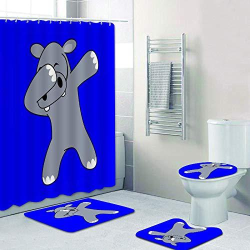 Grifo de Dibujos Animados Amarillo Juego de Ducha de baño de Cebra Niños Panda Hippo Tap Cortina de Ducha Alfombrilla de baño Cubierta de Inodoro Alfombra Alfombra