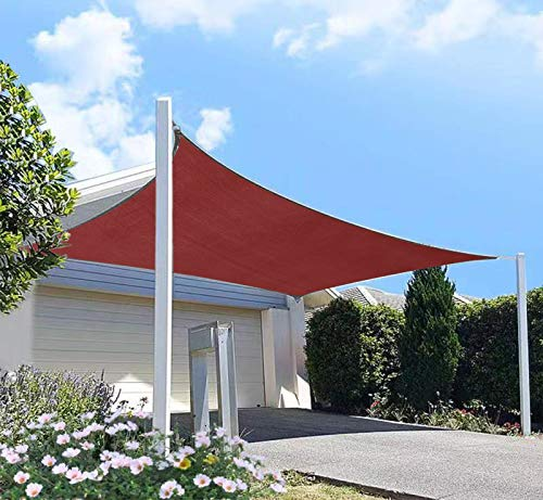 DIIG Patio Sun Shade Sail Canopy, Rectangle Shade Cloth Block Sunshade Fabric - Outdoor Cover Awning Shelter for Pergola Backyard Garden Yard (10' x 14' Rectangle, Red)
