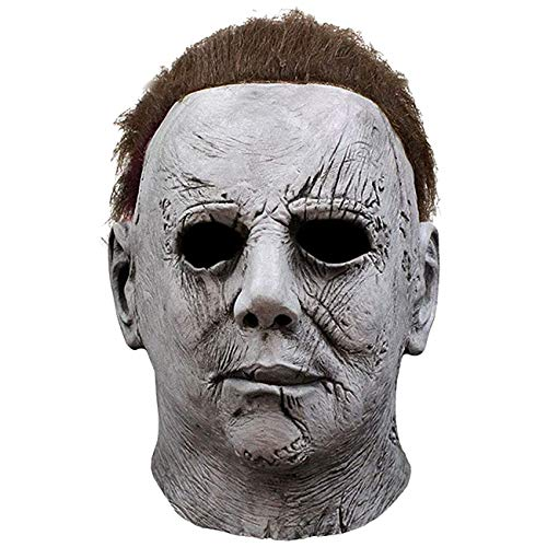 L'VOW Scary Halloween Michael Myers Mask Latex Horror Masks for Adult Cosplay Costume (X- GREY)