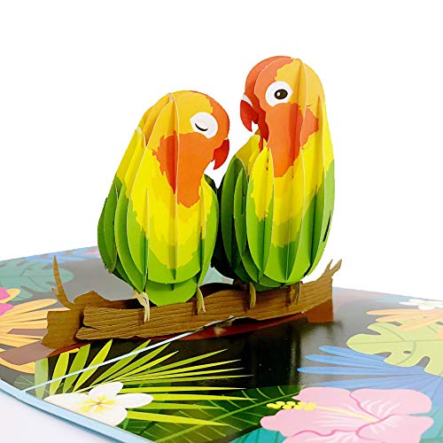 Liif Lovebirds Pop Up Card, 3D Greeting Pop Up Cards For All Occasions, Valentines Day, Mother's...
