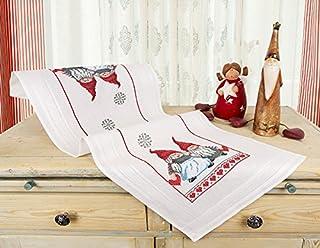 Kamaca Stickpackung VERLIEBTE WICHTEL Kreuzstich vorgezeichnet Stickdecke und Stickgarn aus 100% Baumwolle zum Selbersticken zu Winter Weihnachten Tischläufer 40x100 cm