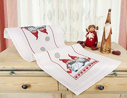 Kamaca Stickpackung VERLIEBTE WICHTEL Kreuzstich vorgezeichnet Stickdecke und Stickgarn aus 100% Baumwolle zum Selbersticken zu Winter Weihnachten (Tischläufer 40x100 cm)