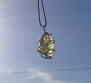 MOLDAVITE Necklace Hand Wrapped in 925 Sterling Silver on an 19