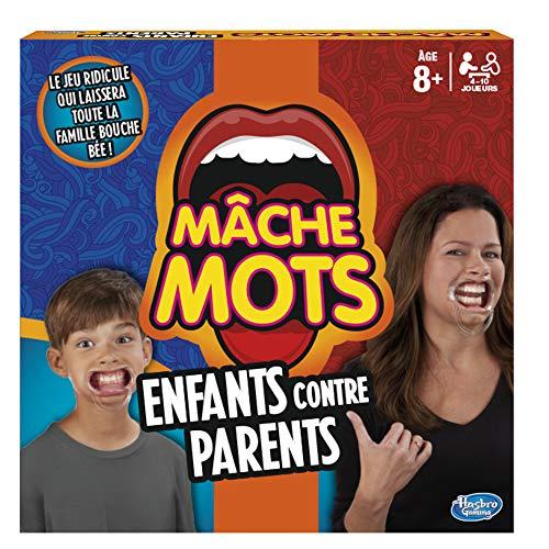 Hasbro Mâche-Mots - Jeu de societe Mâche-Mots Enfants Contre Parents - Jeu drole de rapidité - Version française